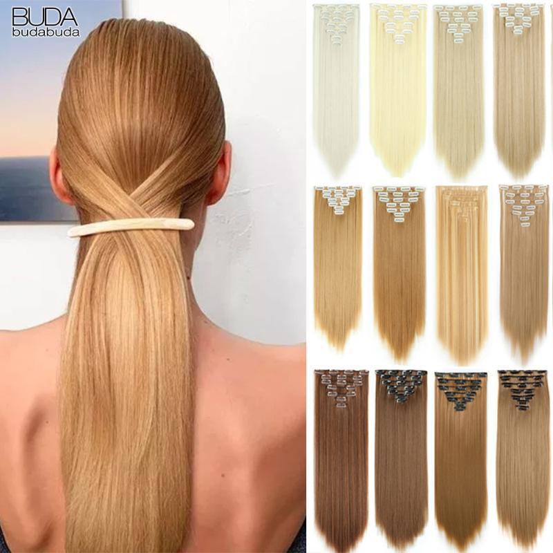Sentetik Peruk Budabuda 22 inç 16 Klipler Uzun Düz Ombre Klip Saç Hairpieces Sarışın Beyaz Kadınlar Için Kahverengi Gri