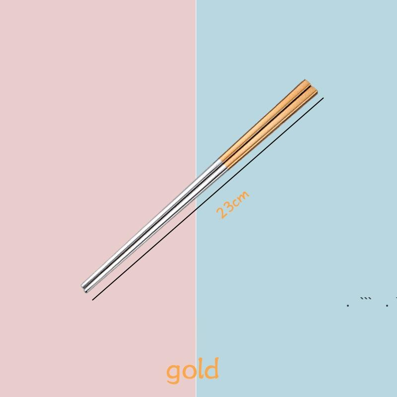 Edelstahl-Essstäbchen Metallhimperstifte Tischwares Silbergold Multicolor Geschirr Hochzeitsfestfestival EWA5246