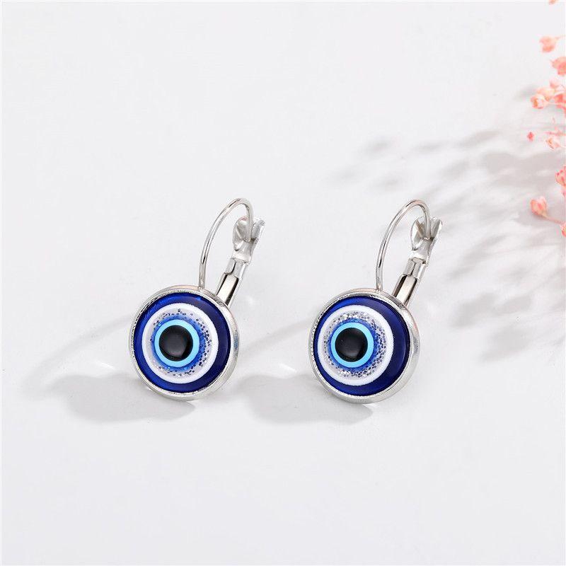 Evil Eye Dangle Drop Earrings Resin Beads Turkish Blue Eyes Charm Chandelier Hoop Earring for Women Men Fashion Vintage Jewelry Accessories Gift