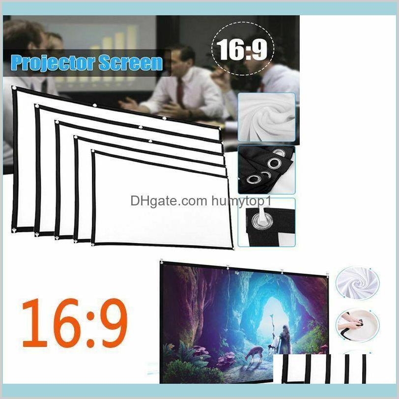 """Портативный 60 """"- 150"""" проектор светодиодный проекционный экран 16: 9 3D HD домашний кинотеатр фильмы открытый театр складной белый для настенного театра 35 мы Rugv5"""