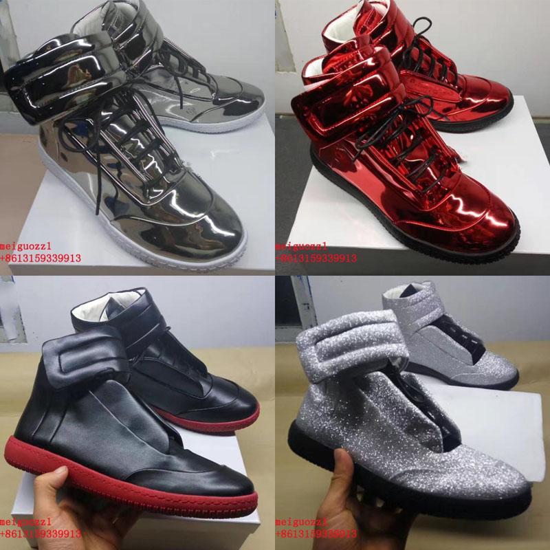 novo designer homem casual sapatos marca treinador de couro genuíno moda plana homens sapatos mmm luxo homens fundos vermelhos sapatos homem alto tops tapetes