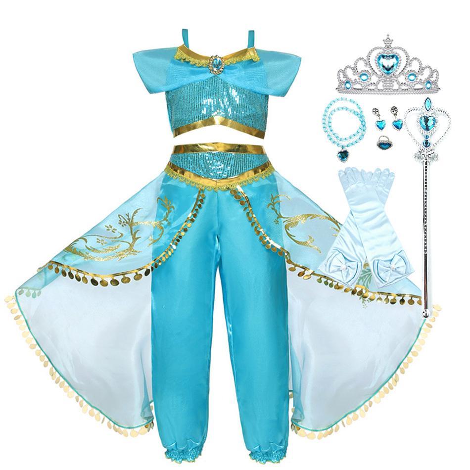 Девушки Хэллоуин платье Жасминовый карнавал Аладдин Арабская принцесса Детский летний костюм лето