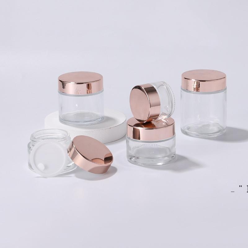 Transparente Rose Gold Creme Garrafa de vidro frascos Cosmetic Frascos com tampas de plástico PP Liner 5G 10G 30G 50G Embalagem Garrafas OWC7672