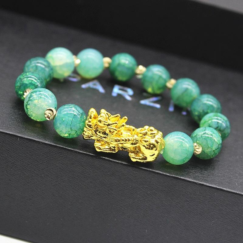 Charm Bracelets Feng Shui 10mm Obsidian Stone Beads Bracelet Women Unisex Wristband Gold Black Pixiu Wealth And Good Luckcy Men