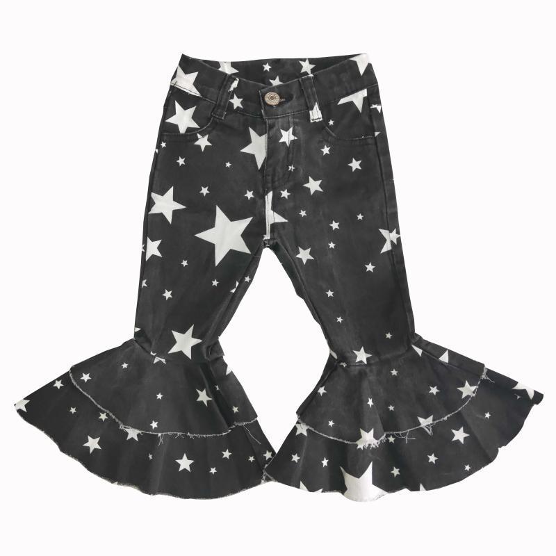 Wholesale Boutique Bébé Filles Double Grand Pantalon évasé design Design Denim Tissu Blanchi Jeans Styles Enfants Enfants