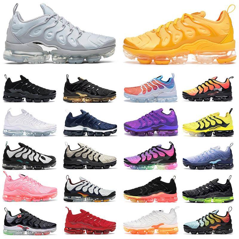 2021 TN PLUS Hommes Femmes Courant Chaussures Formateurs Orange Bubblegum Bumblebee Noir Volt Royal Métallique Or Midnight Midnight Navy Mens Sports Sports de sport