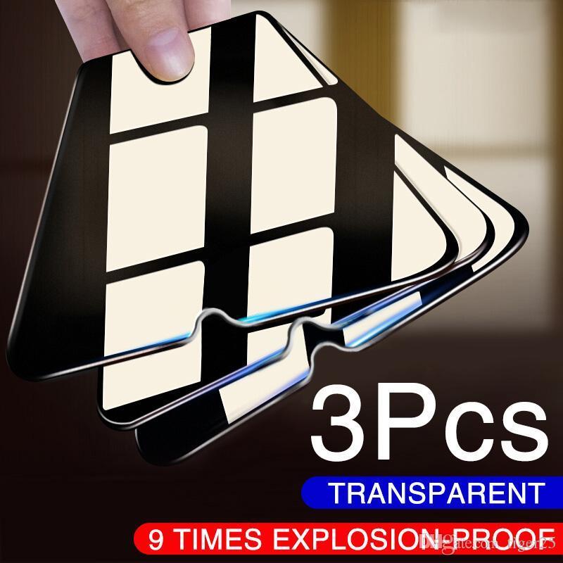 3 pcs vidro de proteção completo para Xiaomi Redmi Nota 8 7 6 5 Pro Nota 9 Pro máximo Protetor de tela de vidro temperado para Redmi 7 8 Filme