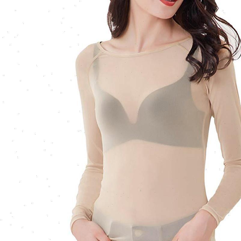 As mulheres vêem as mulheres camiseta através de manga longa Seamle Braço Shaper Top Malha Blusas Sexy Tops Drop