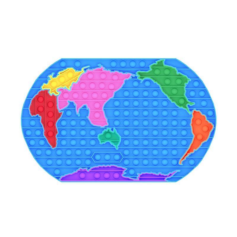 Büyük Boy Dünya Haritası Kabarcık Poppers Parti Favor Kurulu Parmak Yapboz Fidget Sensory Oyuncaklar Slicone Punch Pop Kabarcıklar Mega Jumbo Eğlenceli Oyun Masaüstü Stres Rölyef
