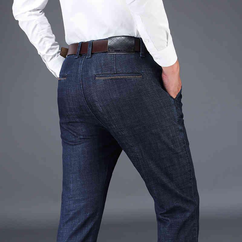 Jeans maschili da uomo da uomo classico maschio maschio jeans jeans pantaloni da designer casual chic moda pantaloni elasticizzabili blu