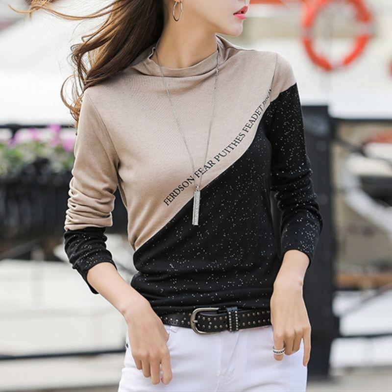 T-shirt de colcha de bloco de cor de primavera T-shirt das mulheres meia turtleneck diamantes brilhantes manga longa tops Tee algodão T9D009Y 210323