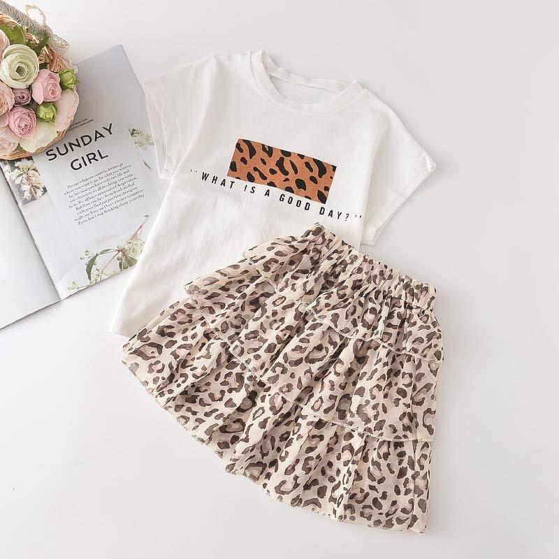 Líder de urso Kids meninas roupas novas meninas verão leopardo roupas de moda t-shirt e vestido em camadas 2pcs conjuntos de roupas 3-7Y 210322
