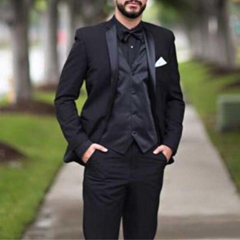 Siyah Örgün Damat Smokin Düğün Için 3 Parça Slim Fit Erkekler Çentikli Yaka Özel Adam Moda Kostüm Ceket Ile Suits X0909