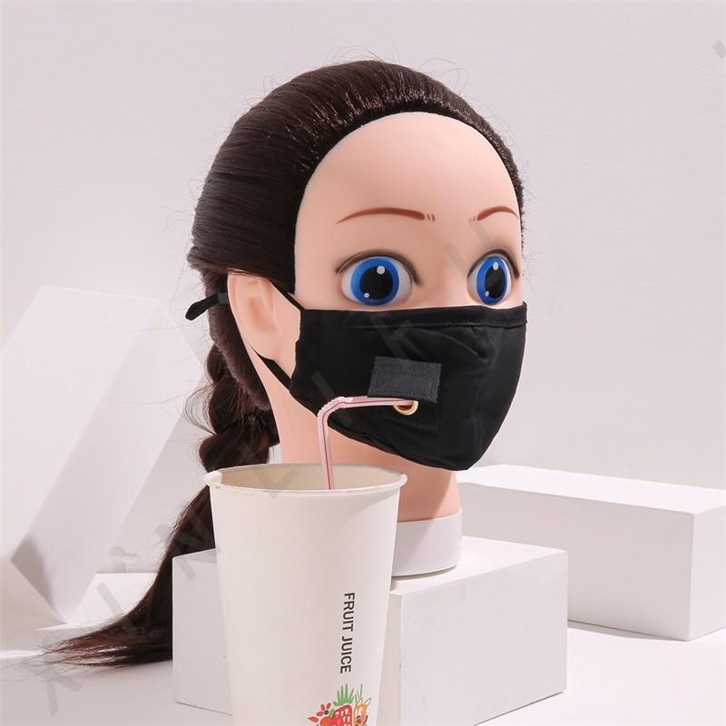 Взрослые детские хлопчатобумажные маски для лица питьевая маска с отверстием для соломенной партии маска многоразовые моющиеся пылезащитные маски наружные маски роста крышка 378 v2