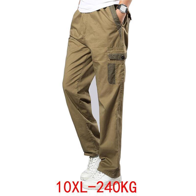 봄 남자화물 코튼 바지 포켓 대형 큰 8xL 9XL 140kg 느슨한 문 캐주얼 사파리 스타일 블랙 46 48 남자