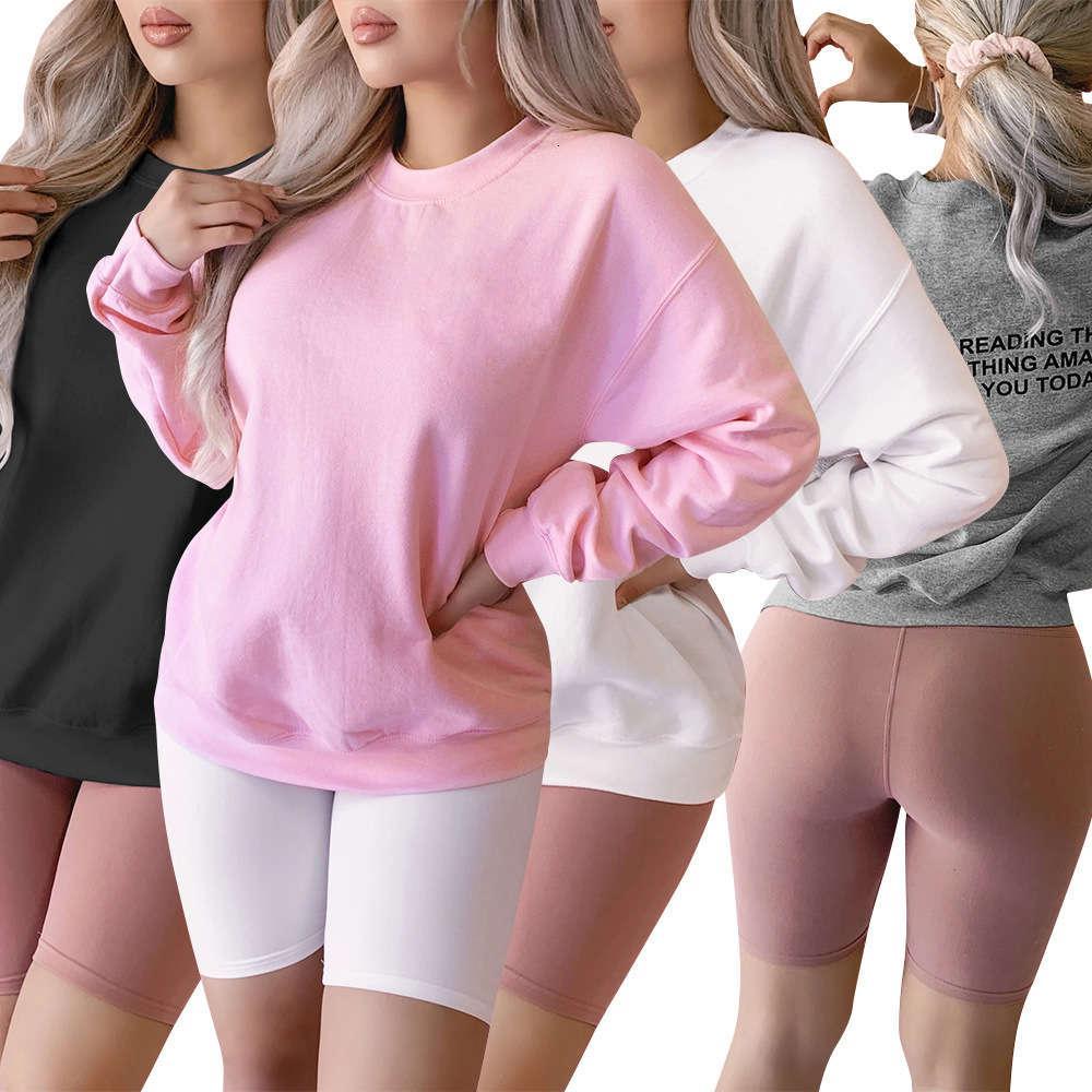 Hoodies outono e inverno redondo Pescoço letra topo moda casual pullover