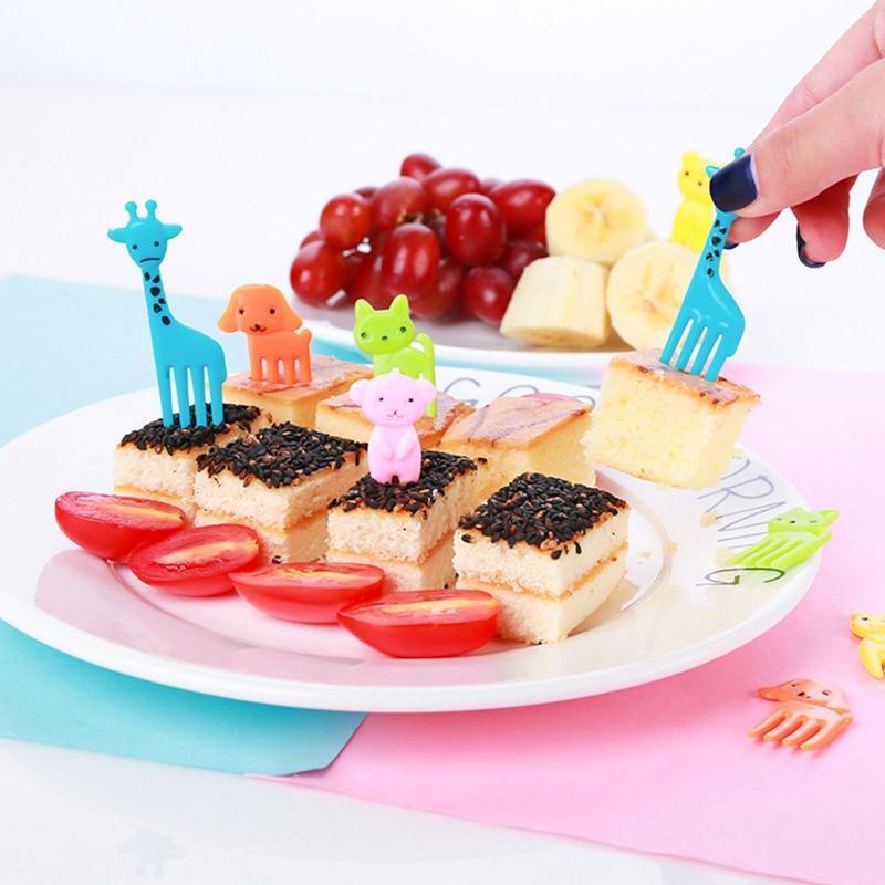 Fourchettes éléphant / girafe / chat en forme de fourche de fruits dessin animé enfants gâteau gâteau dessert pioche cure-dents bento déjeuners décor parti