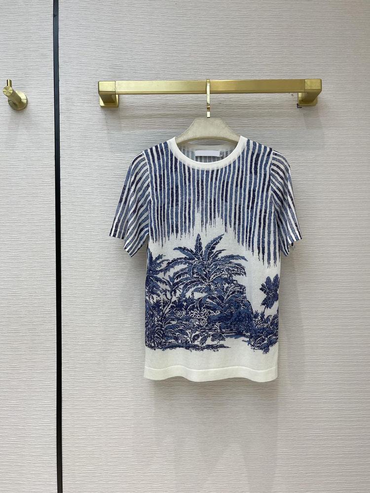 Maglione della pista di Milano 2021 maniche corte O Neck Eye End Jacquard Pullover Donne Designer T-shirt 0323-4