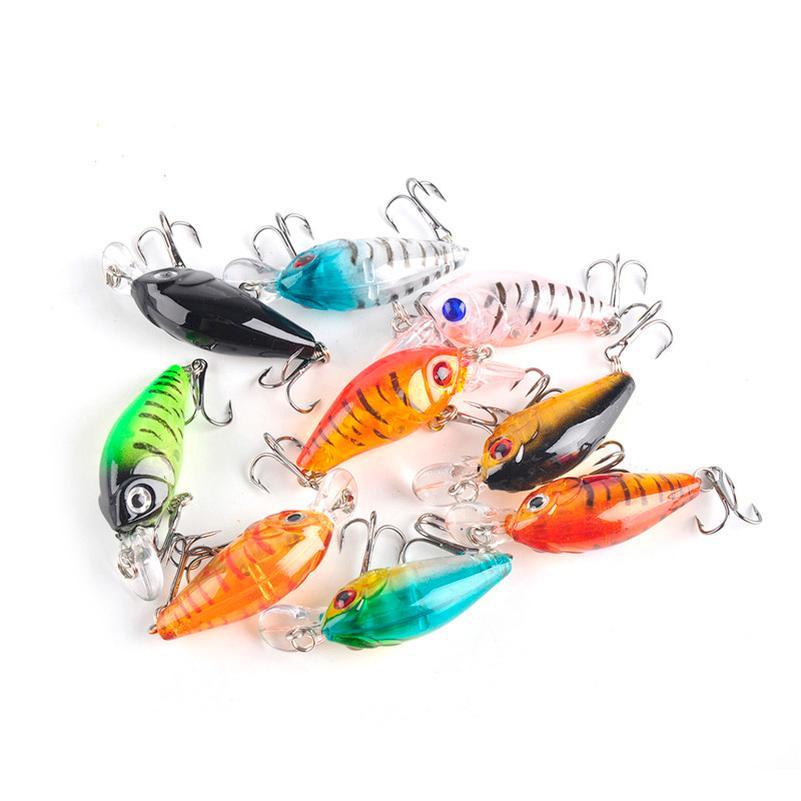 4.5 cm 4G mini pesca in plastica trasparente esche esche minnow crankbaits 3D occhio esca artificiale esca esca 9 colori / set