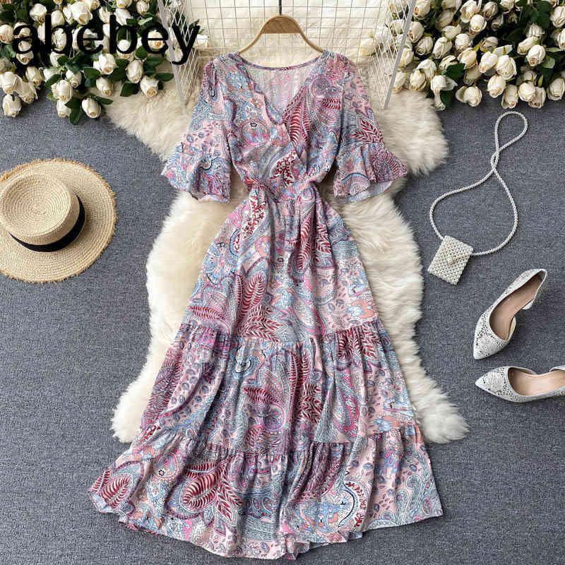 Frauen Koreanisches Blumenkleid Süße Kurzarm V-Ausschnitt A-Linie Rüschen Es Sommer Boho Print Urlaub Strand Midi 210512