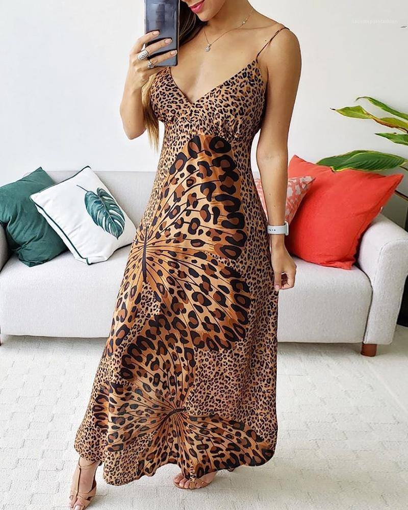 Dresses Womens Casual Fashion Breathable Dress V Neck Print Ladies Long Dresses Leopard Bow Spaghetti Strap