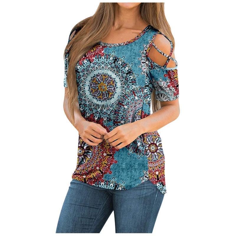 Kadın T-shirt 2021 Moda Çiçek Baskı Tee Tops Giysileri Yaz Rahat Gevşek Yuvarlak Boyun Kısa Kollu Hollow T-Shirt Giyim