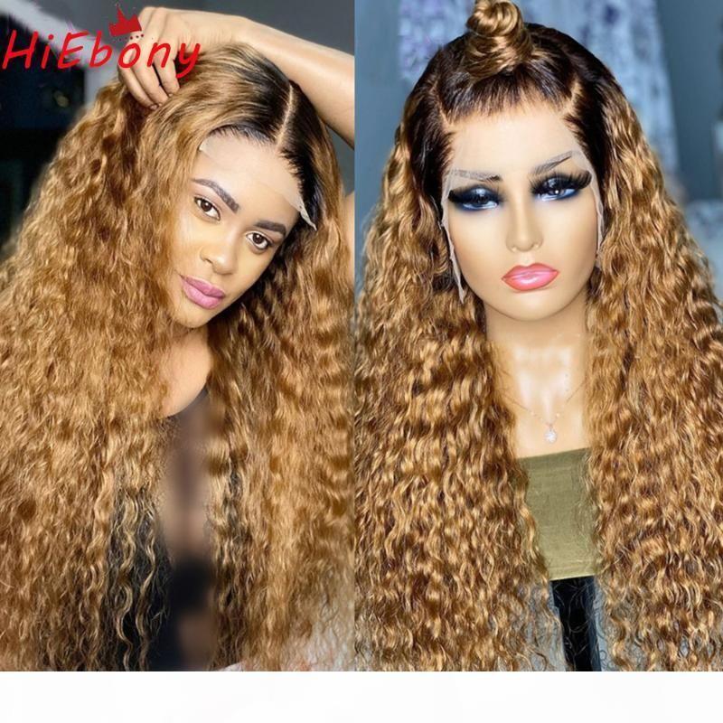 Hiebony Prespucked Lace Front Perücken 1b 27 Ombre 180% Dichte Glueless Remy Hair Lace Front Perücke Transparente lockige menschliche Perücken