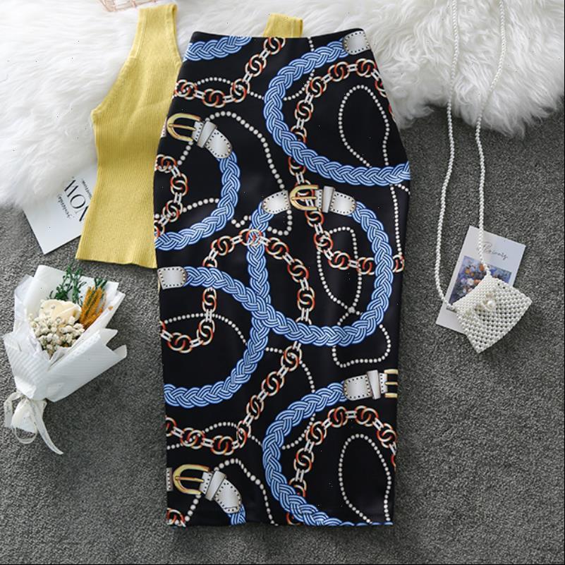 Faldas de lápiz para mujer falda de verano Graffiti de moda Cadena de moda Impresión de la cintura alta Sexus Flavas de gran tamaño FALDA FALDA