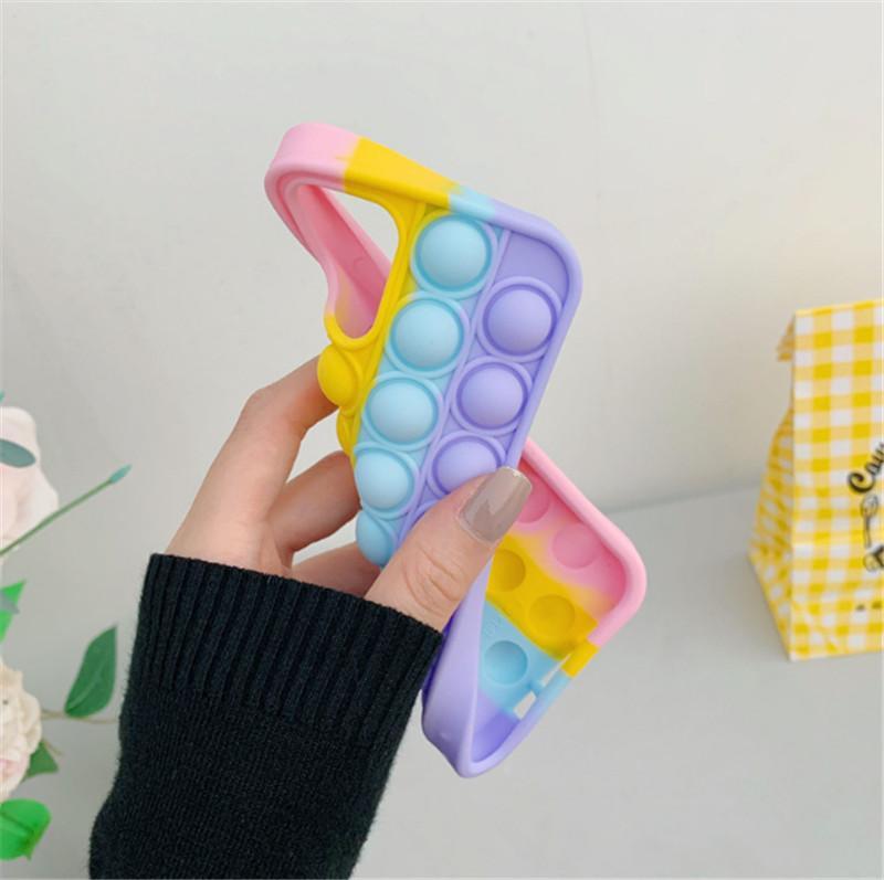 Pop It Phone Case Fidget Toys Silicone For Iphone 11 12 Pro Max Mini 7 8 Plus X XR XS Reliver Stress Push Bubble Cover