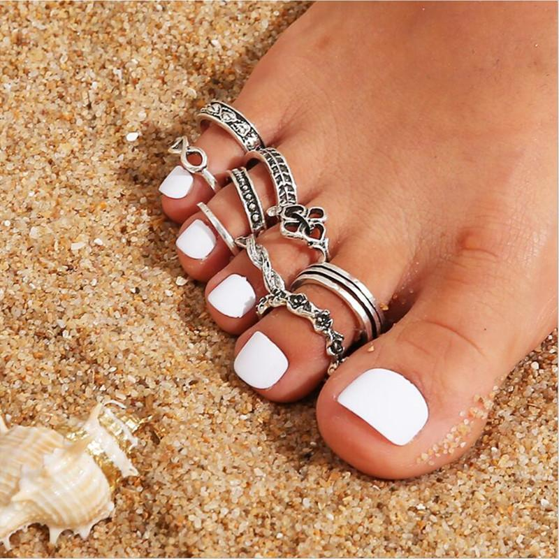 9 stücke Schwanz Fuß Finger Ring Geschenke Einstellbare geschnitzte Zehenringe Set Für Frauen Mädchen Sommer Strandurlaub Kunuckle Schmuck