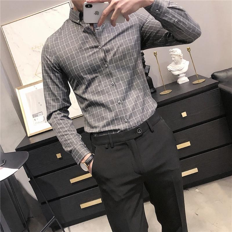 비즈니스 정장 드레스 셔츠 남성 패션 긴 소매 격자 무늬 캐주얼 슬림 피트 사회 사무실 블라우스 캐미사 Masculina 남자