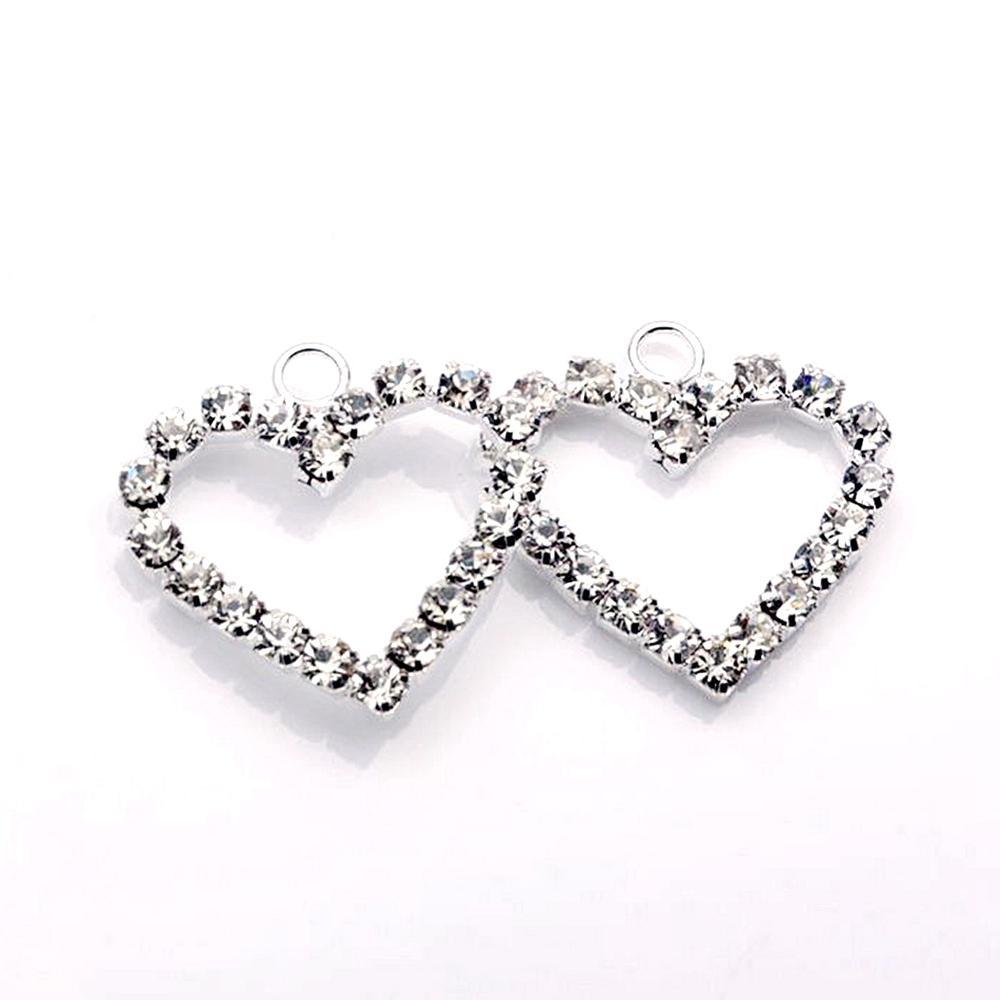100pcs piastra argento piastra trasparente a forma di cuore a forma di cuore a forma di fascino per gioielli che fa il braccialetto della collana dei risultati (002307)