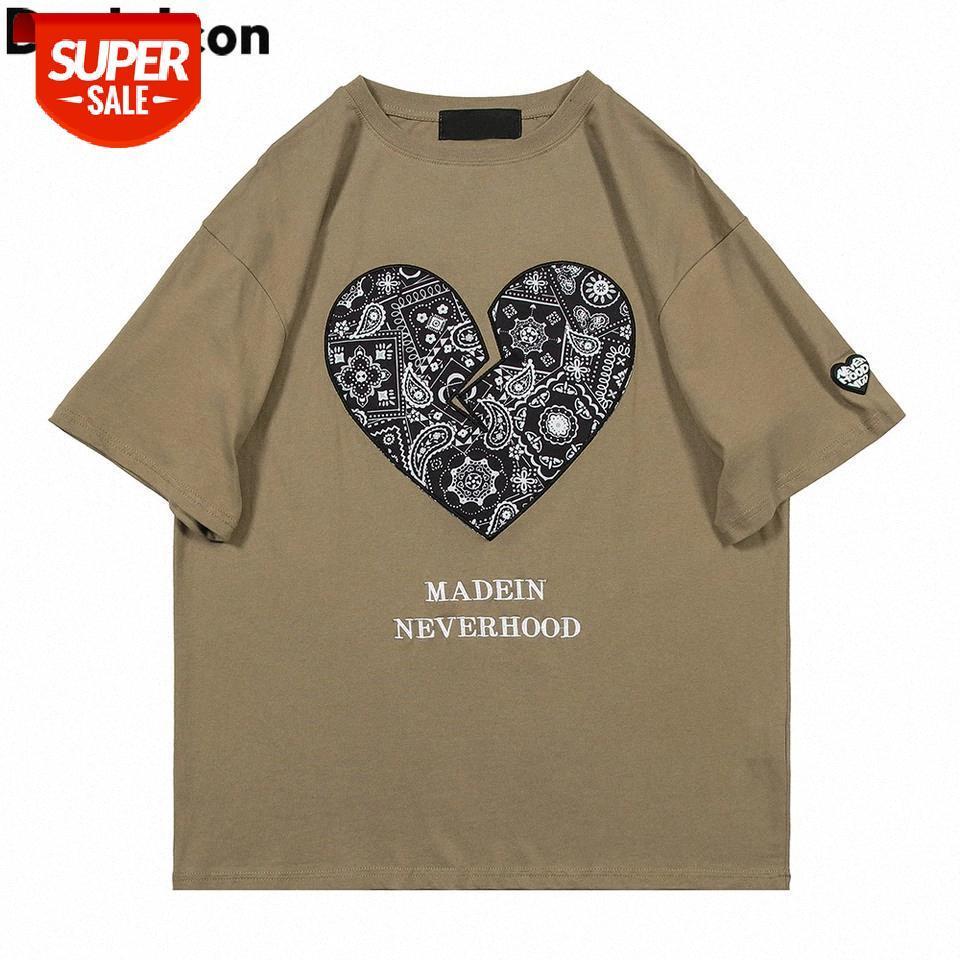 Bandana coração t-shirt homens mulheres verão de manga curta rua moda homens camisetas # eh4u