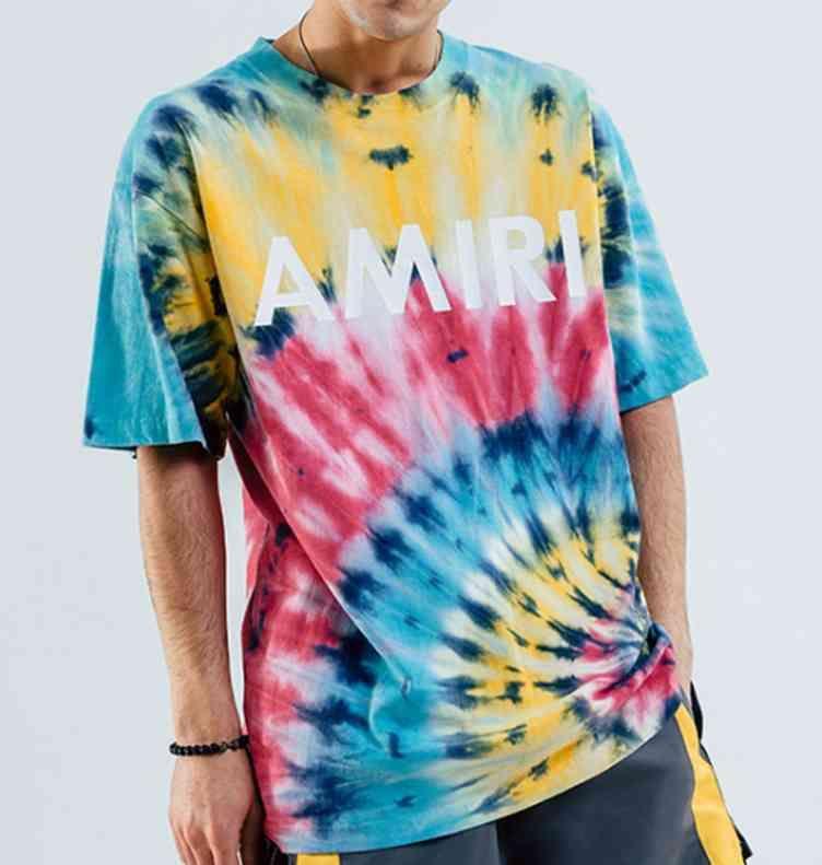 2021 Summer Plus Tamaño Camisetas Tops de calle europeos y estadounidenses Moda Color Lavado Lazo Teñido de manga corta de los hombres