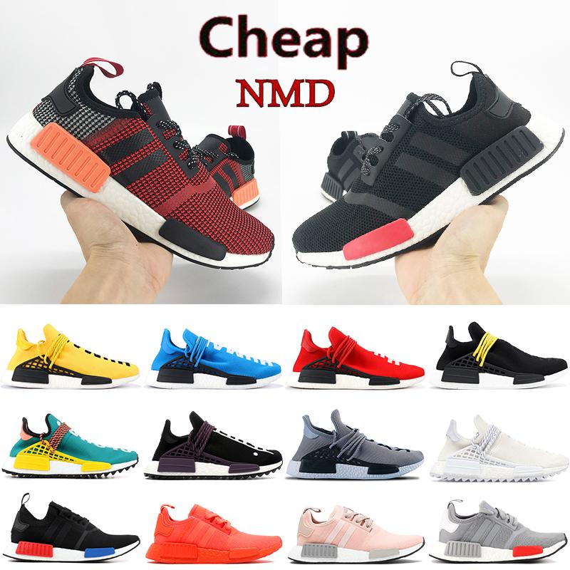 Moda NMD İnsan Yarışı R1 Koşu Ayakkabıları Hu Pharrell Siyah Kırmızı Avrupa Özel Krem Beyaz Dokunsal Yeşil Blanch Mavi Erkek Kadın Sneakers