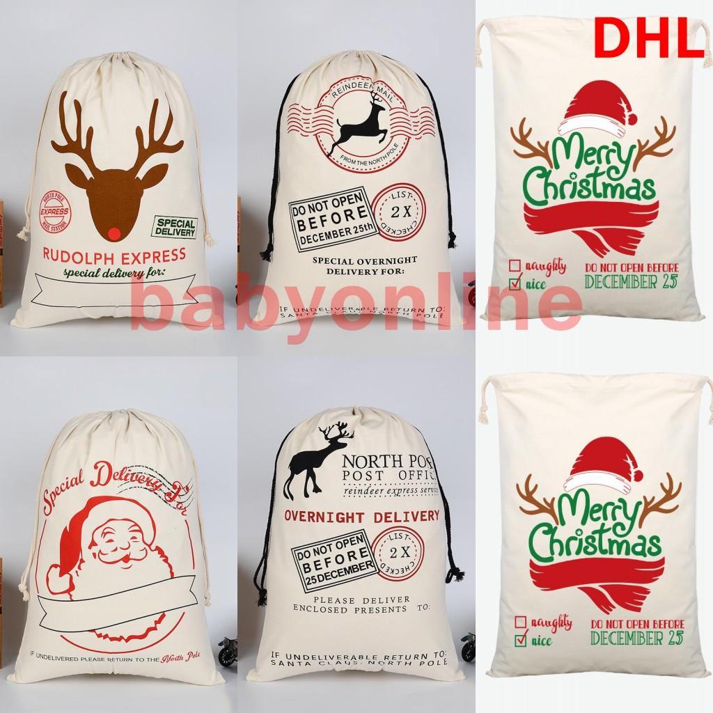 DHL Ship Christmas Decoration Canvans Candy Bag Xmas Presenter