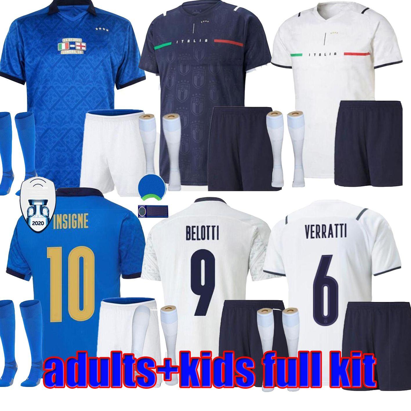 21/22 Italia Soccer Jerseys Italie Barella Sensi Insigne Finale 2021 2122 Champion Européenne Coupe Renaissance Chiellini Bernardeschi Adultes Chemises de football pour enfants