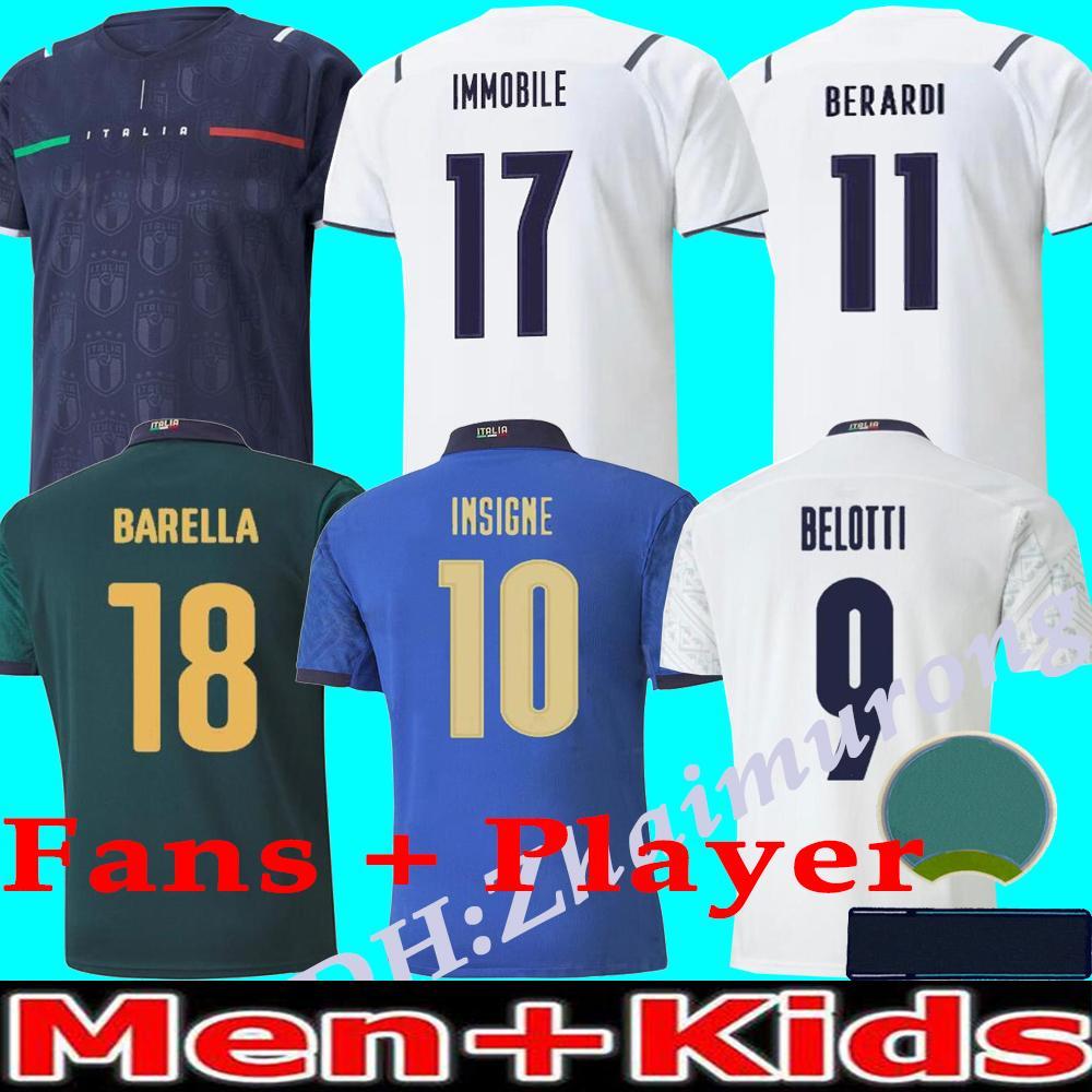 2021/22 Itália Europeu Cup homens e crianças Casa de futebol Jerseys National Team 20/21/22 Insigne Belotti Verratti Pirlo Italiano Camisa de Futebol Camisa Uniformes