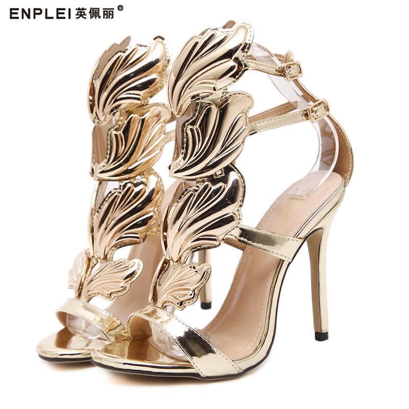 Vendre des femmes Haute talon sandales or feuille de feu flamme gladiateur sandal chaussures de soirée robe chaussure femme brevet cuir