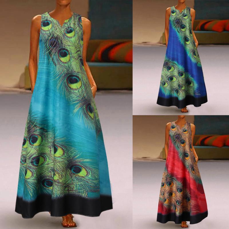Diário vintage vestido boêmio mulheres plus size sem mangas estilo étnico pavão impresso floral longo boho verão praia casual vestidos