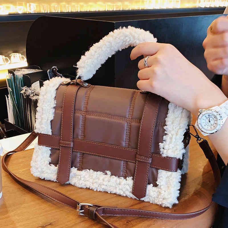 Fashion Lambswool Donne Designer Designer Plaid PU Borse a spalla in pelle Luxury Faux Fur Crossbody Messenger Bag Lady Peluche Borsa C0326