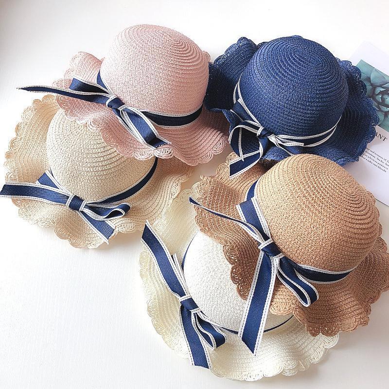 طفل تنفس القش قبعة الصيف القوس الشمس كاب الاطفال فتاة bowknot دلو القش قبعة واسعة بريم القبعات LJJA2486