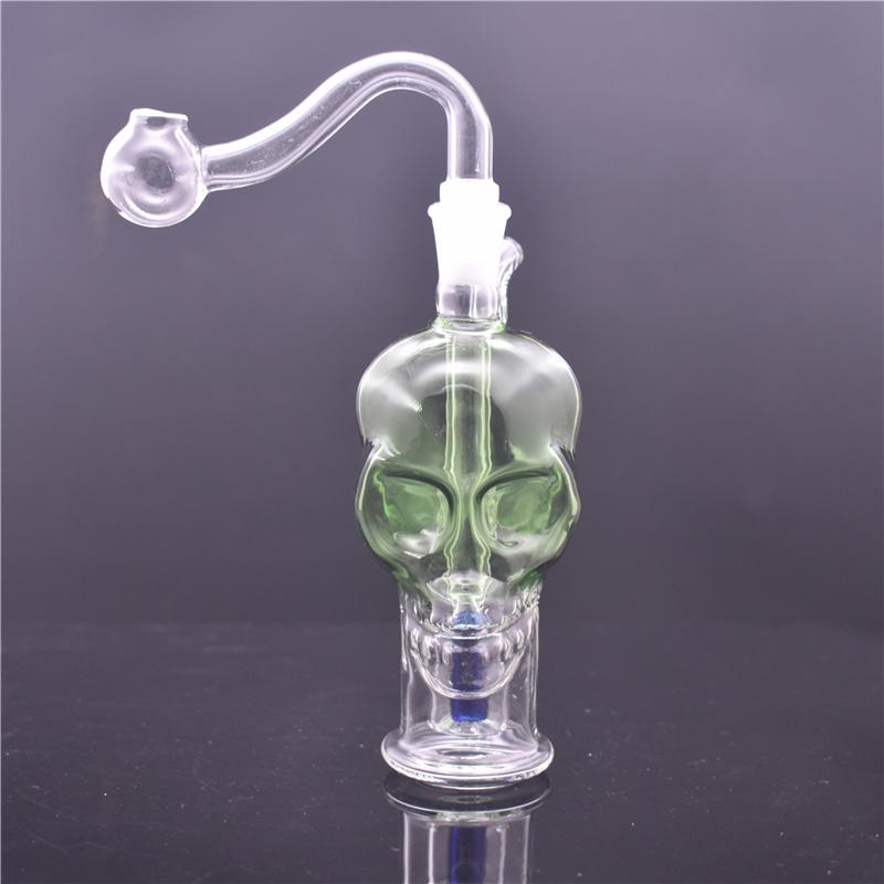 Skull Shape hand smoking water pipe bubbler recycler Bong cheapest Portable ashcatcher Bong with glass oil burner pie and hose DHL free