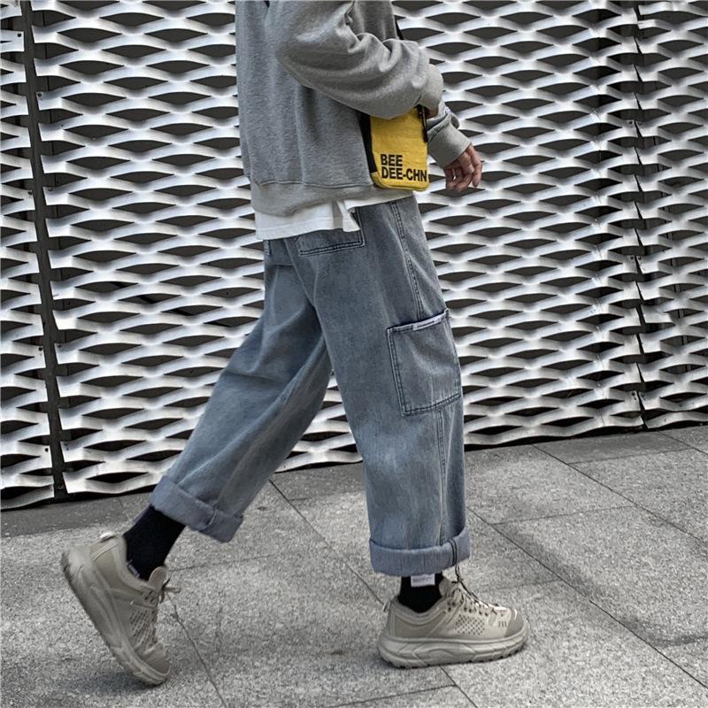Dames Jeans printemps automne version coréenne grosse taille graisse mm haute taille femelle étudiant lâche et mince neuf point jambe droite jambe droite pantalon papa