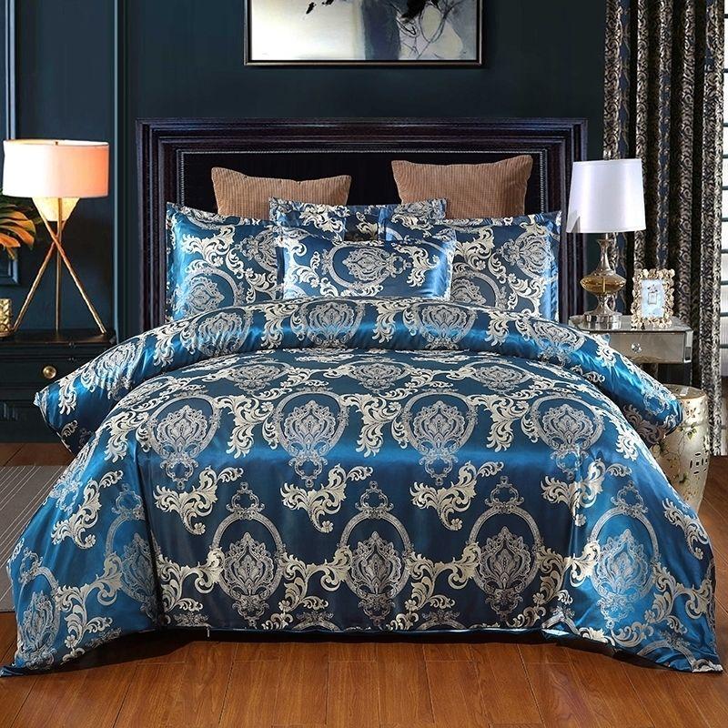 Jacquard Weave Duvet Cover Cama Euro Conjunto de Cama 240x220 Quilts para Dupla Home Têxtil Fronhas de Luxo Quarto Comforter 210319