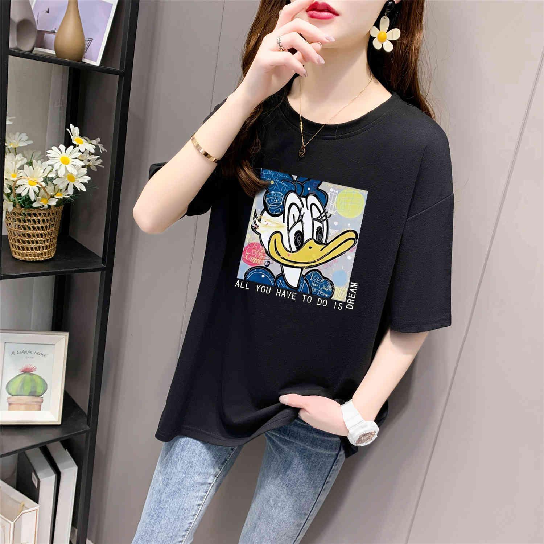 T-shirt à manches courtes Femme 2021 Spring and Summer Nouveaux coréens Dessin animé Dessin animé Ligne Longueur moyenne avec demi-manche