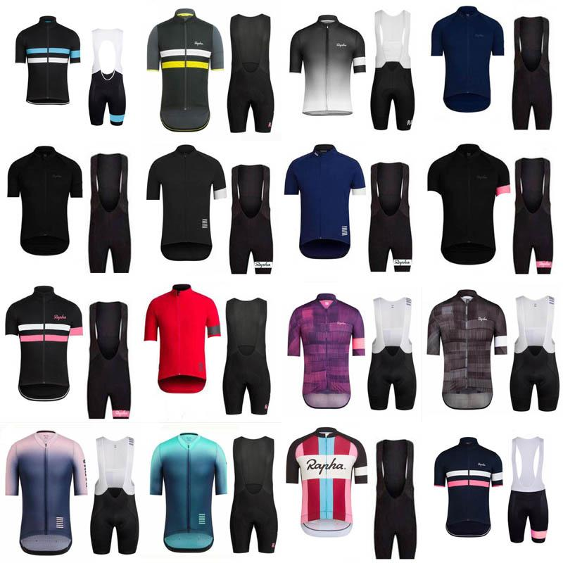 Rapha 팀 사이클링 반팔 짧은 소매 jersey 턱받이 반바지 세트 야외 자전거 새로운 3D 젤 패드 여름 스타일 mtb maillot ciclismo 32351