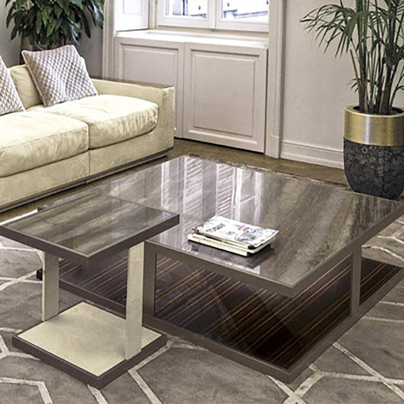 Wholesale Beautiful pattern Living room Furniture Practicable Metal solid wood Black White square corner table For Home Hotel restaurant