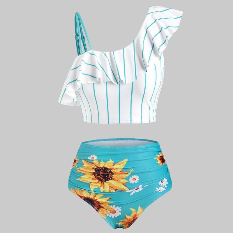 Bikini 2021 Kadınlar Push-Up Yastıklı Artı Boyutu Yerleşimi Ayçiçeği Baskı Mayo Yüksek Kaliteli Mayo Moda Beachwear Kadınlar