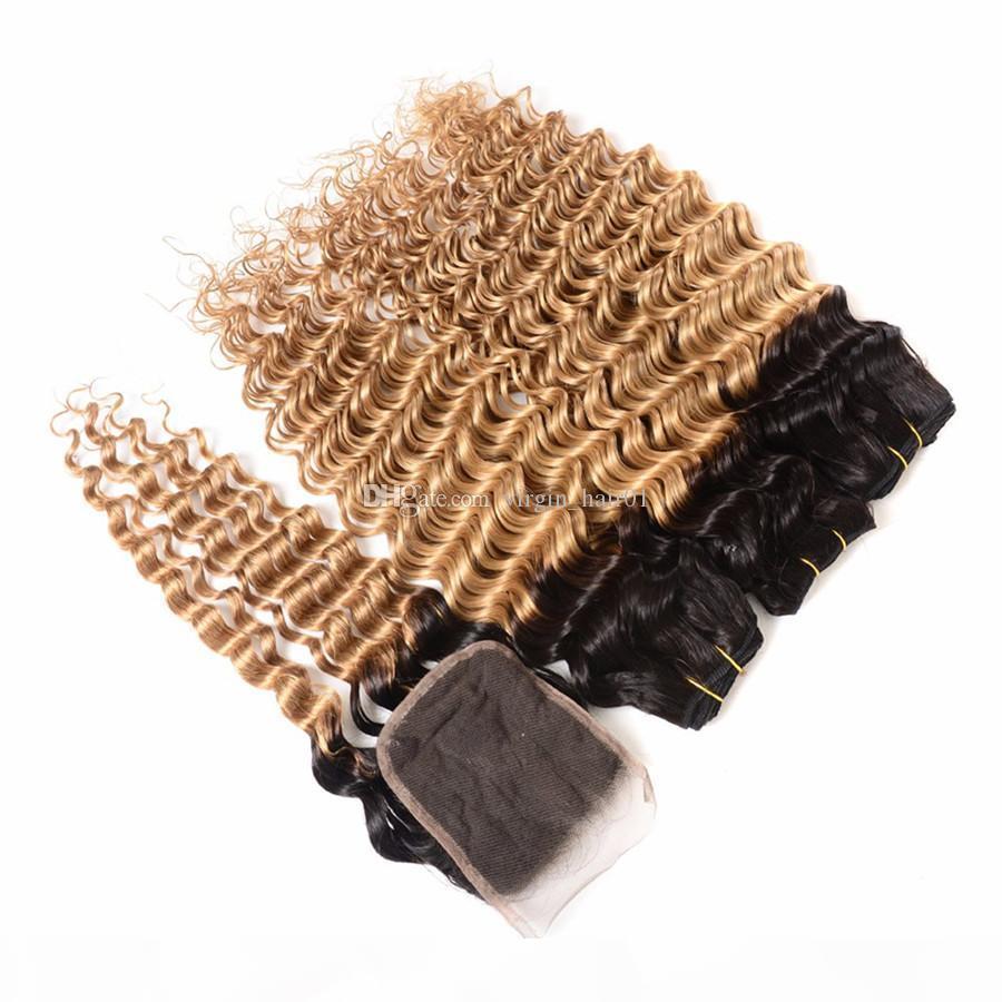 Reme Remy Cheveux De Profonde Vague avec fermeture Ombre Noir au miel Blonde Cheveux humains avec 4 * 4 Dentelle Fermeture 8A Grade Vierge Cheveux